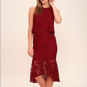 Lulu's red lace two piece set